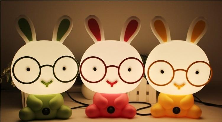Free-shipping-lovely-glasses-rabbit-table-lamps-cartoon-Winnie-the-children-indoor-bedroom-bedside-lighting-AC220v